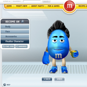 Website Design Company - M&Ms Character Creator